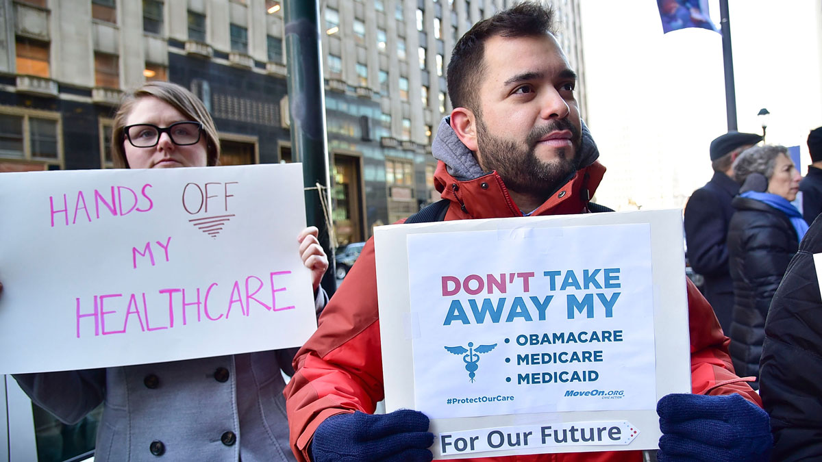 File - Constituents speak-out and rally supporting the Affordable Care Act, organized by MoveOn.org outside Sen. Pat Toomey's office on Dec. 20, 2016 in Philadelphia, Pennsylvania.
