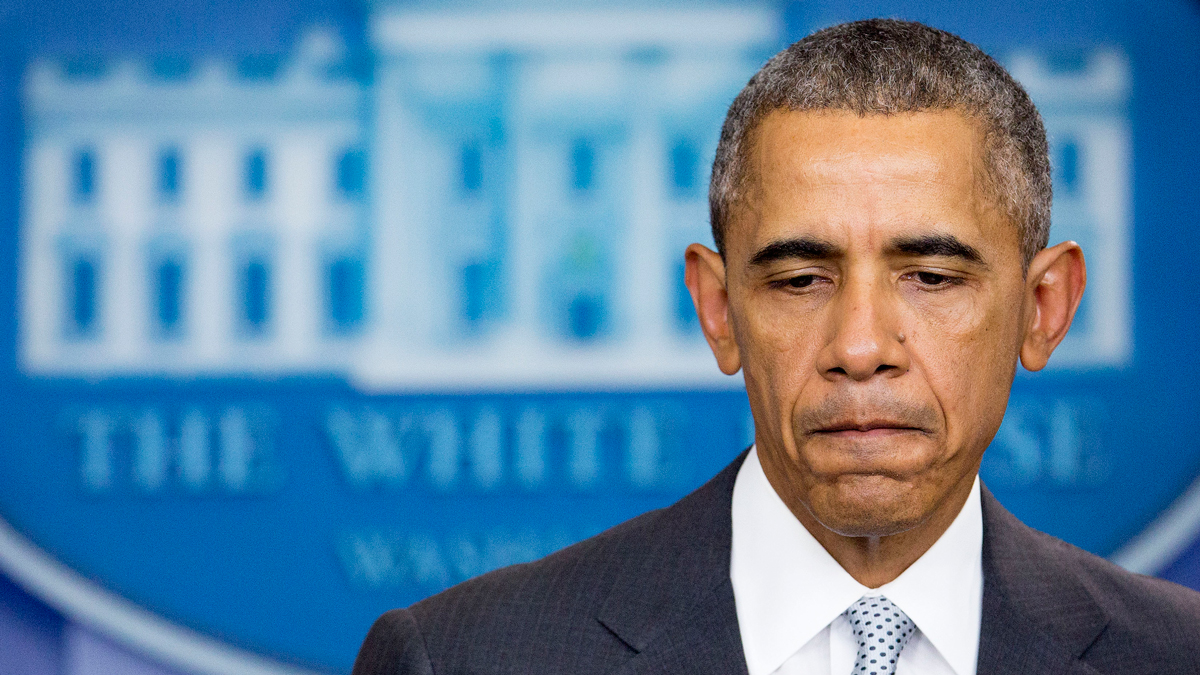 President Barack Obama pauses while making a statement about multiple acts of violence in Paris in the Brady Press Briefing Room of the White House in Washington, D.C. on Friday, Nov. 13, 2015. Obama said the U.S. is prepared to provide whatever assistance France needs in the wake of terrorist attacks in Paris that killed dozens of people on Friday night.