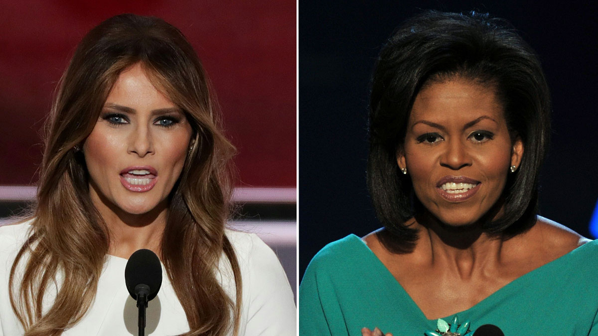 Melania Trump (L), at the Republican National Convention on July 18, 2016, and Michelle Obama (R) at the Democratic National Convention in 2008.