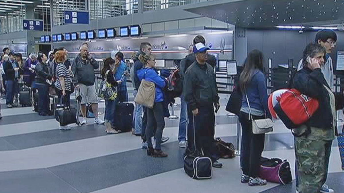Lines at O'Hare on Wednesday morning stretched the length of the terminal.