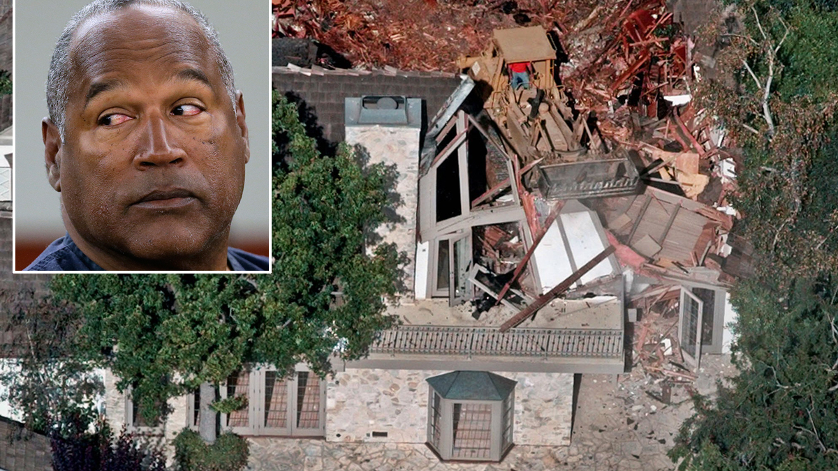 Crews demolish the former home of O.J. Simpson, on July 29, 1998, in the Brentwood neighborhood of Los Angeles. Inset: O.J. Simpson during an evidentiary hearing in Clark County District Court in Las Vegas on May 13, 2013.