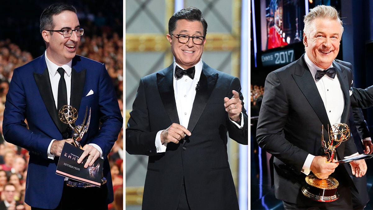 John Oliver (left), Stephen Colbert (center) and Alec Baldwin (right) at the 69th Ammy Awards on Sunday, Sept. 17, 2017.