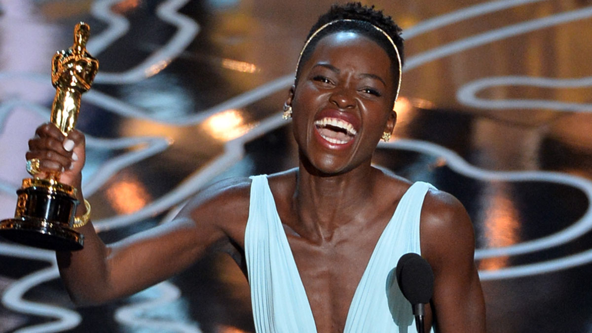Actress Lupita Nyong'o, a Yale School of Drama graduate, accepts the Best Performance by an Actress in a Supporting Role award for