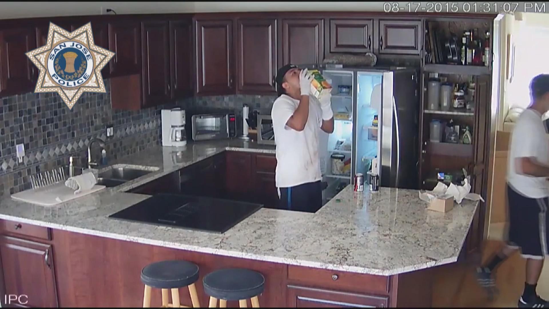 Police on Thursday released home surveillance video of three young gloved men inside a San Jose home - checking out food in the fridge and even drinking from a carton of orange juice - during a burglary where they also allegedly ransacked the place and stole an undisclosed amount of property on Aug. 17, 2015.