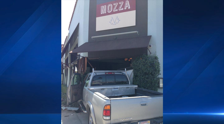 Osteria Mozza in LA's Hancock Park neighborhood was closed when a pickup truck plowed into it at 12:45 p.m. on Saturday, April 18, 2015, fire officials said.