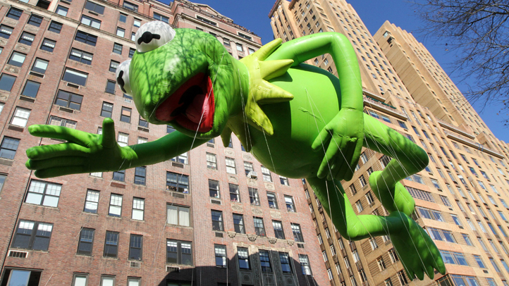 The Kermit the Frog balloon in the 2012 Macy's Thanksgiving Day Parade
