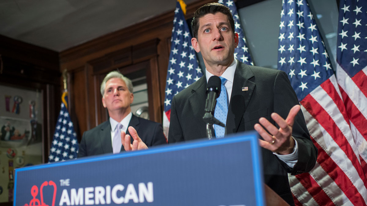 Speaker of the House Paul Ryan, R-Wis., and House Majority Leader Kevin McCarthy, R-Calif., conduct a news conference at the RNC where they discussed the House Republican's new healthcare plan to repeal and replace the Affordable Care Act, March 8, 2017.