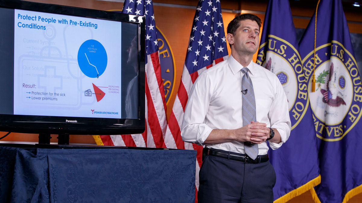 House Speaker Paul Ryan of Wis. uses charts and graphs to make his case for the GOP's long-awaited plan to repeal and replace the Affordable Care Act, Thursday, March 9, 2017, during a news conference on Capitol Hill in Washington.