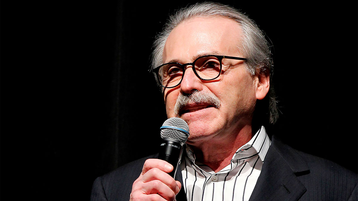 In this Jan. 31, 2014, photo, David Pecker, Chairman and CEO of American Media, addresses those attending the Shape & Men's Fitness Super Bowl Party in New York.