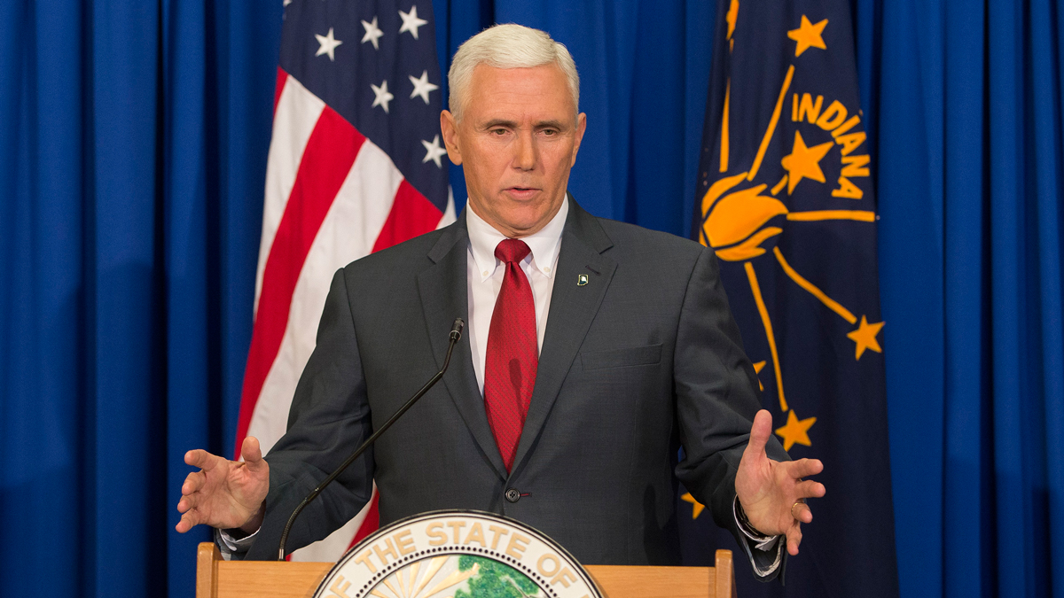 Gov. Mike Pence (R-IN) holds a press conference March 31, 2015 at the Indiana State Library in Indianapolis, Indiana. Pence spoke about the state's controversial Religious Freedom Restoration Act which has been condemned by business leaders and Democrats.