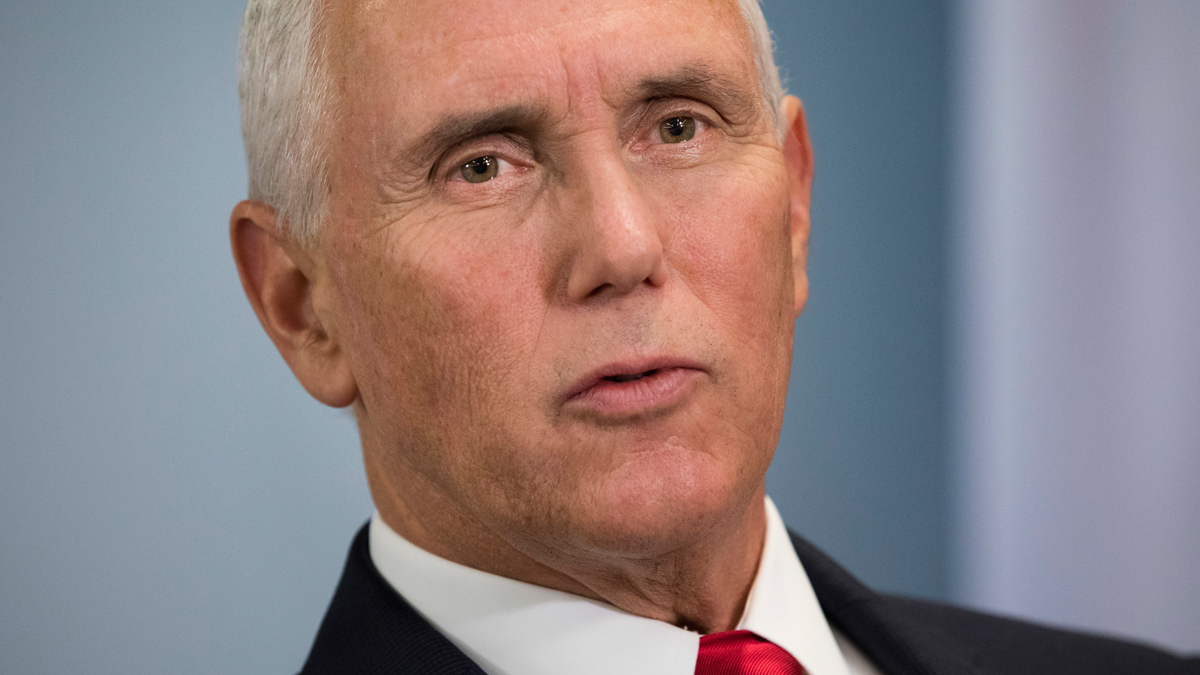 U.S. Vice President Mike Pence talks to the press during the 33rd ASEAN Summit in Singapore, Thursday, Nov. 15, 2018.