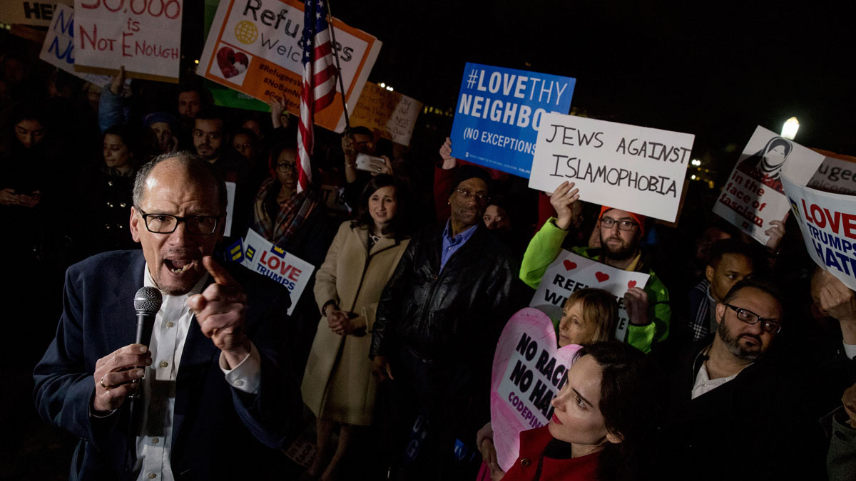 Democratic National Committee (DNC) Chairman Tom Perez speaks at a protest against President Donald Trump's new travel ban order in Lafayette Square outside the White House, Monday, March 6, 2017, in Washington.