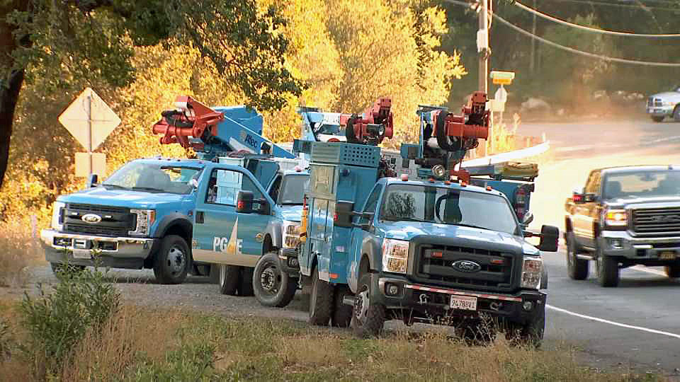 File image of PG&E crews inspecting power lines in the North Bay.