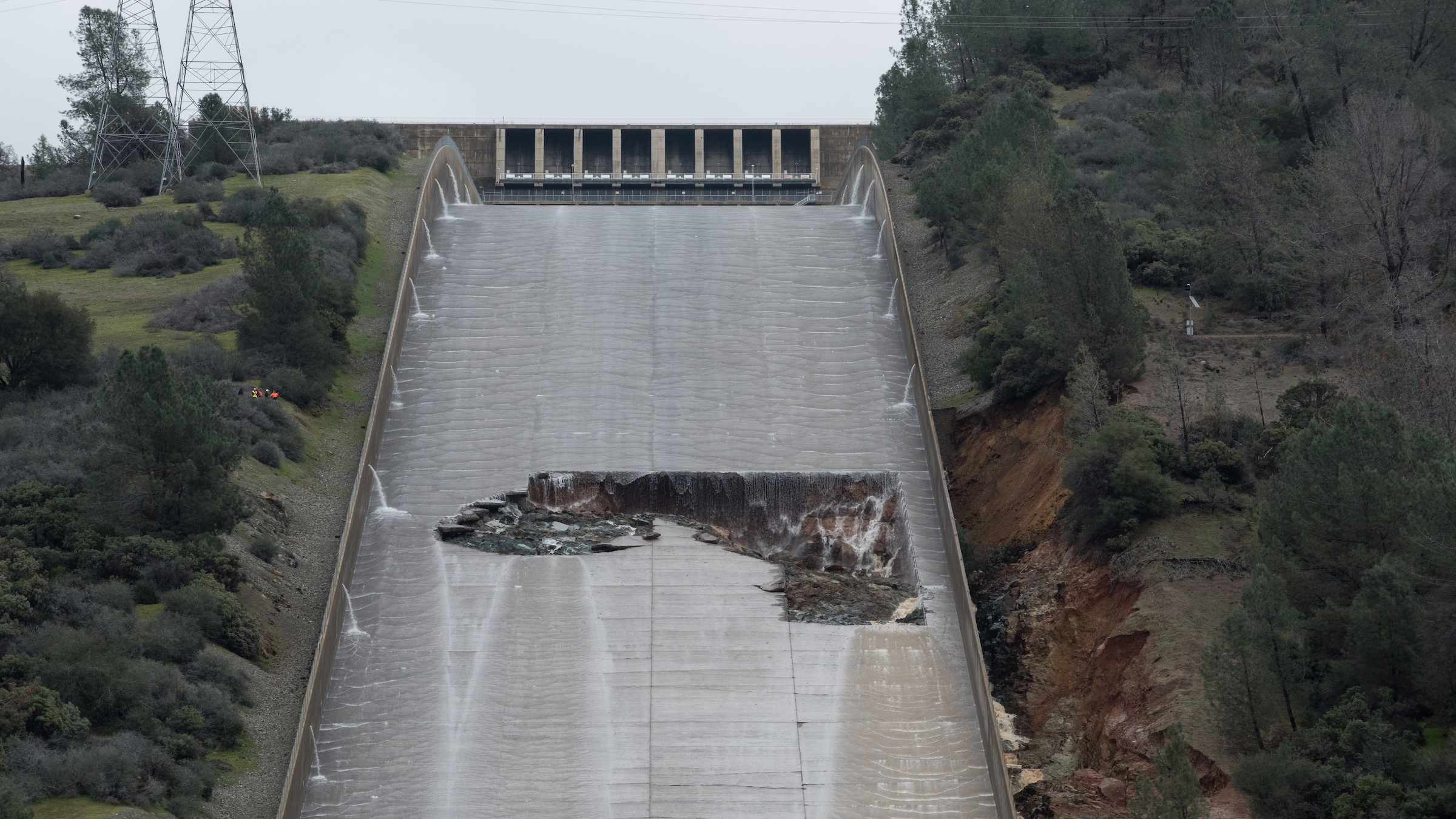 The damaged main spillway of California's Oroville Dam, the tallest in the nation, on Feb. 7, 2017. U.S. dams got a D grade in the 2017 Infrastructure Report Card released March 9, 2017, by the American Society of Civil Engineers.