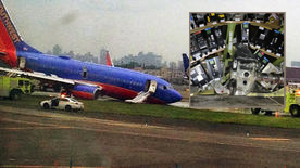 NTSB released the photo, at inset, showing the Southwest jet's electronics bay penetrated by the landing gear.
