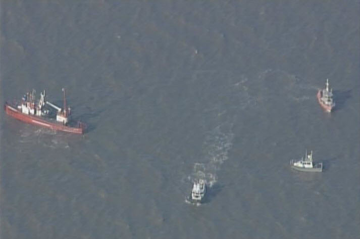 Chopper image of search crews looking for survivors after two small planes crashed in the air in the North Bay. - April 27, 2014.