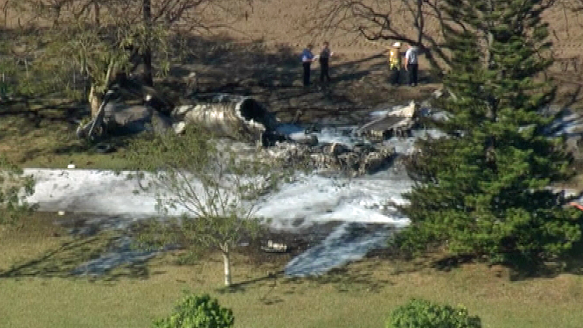 The remnants of a plane crash in SW Miami-Dade County on 2/11/15.