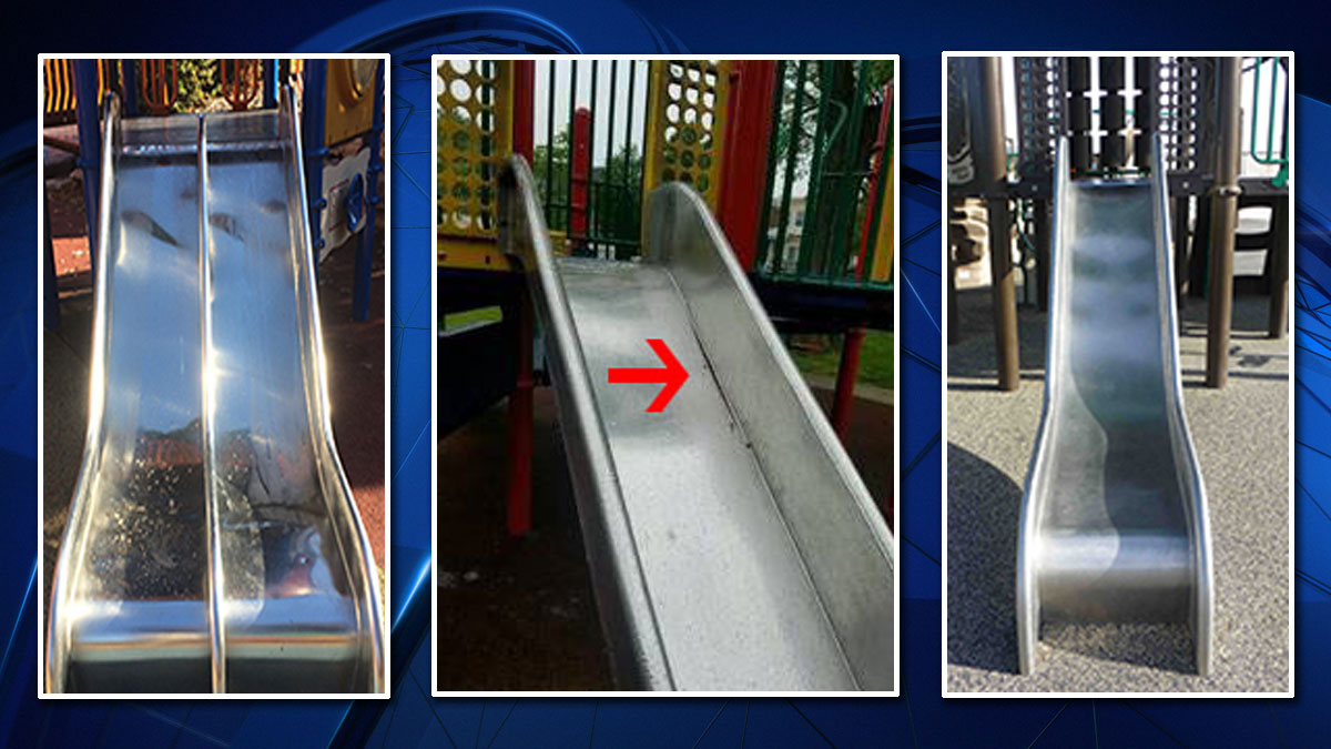 Images from Playworld show the Lightning slides, as well as one, center, where there is a broken weld between the bedway and sidewall.