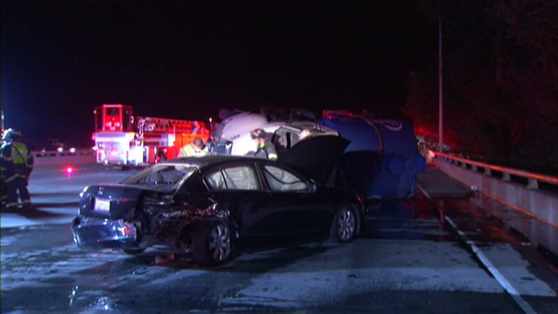 Aftermath of Porta Potty spill at I-280 at 11th Street in San Jose. Oct. 15, 2014