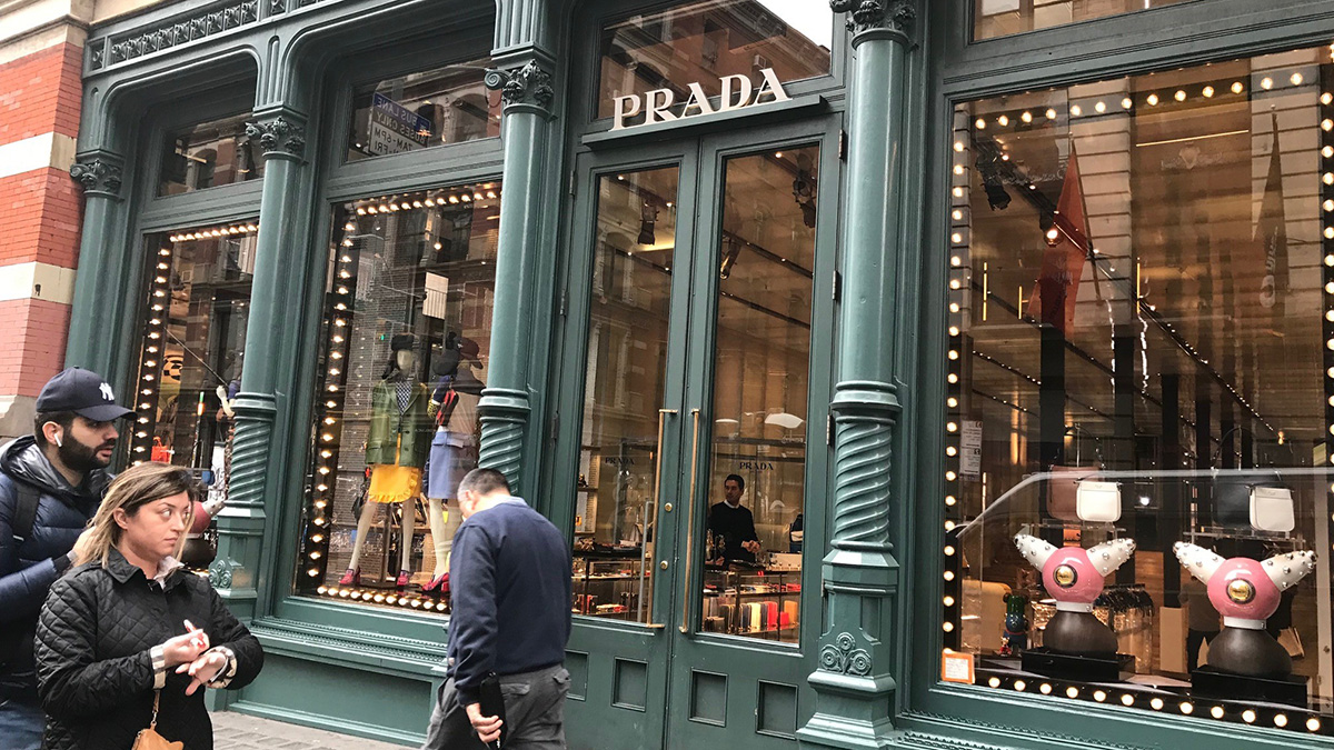 The Prada storefront in Soho, after items that some on social media said resembled blackface were removed from the display.