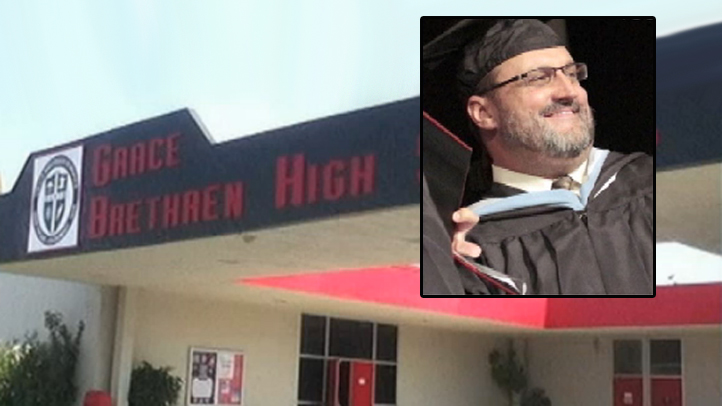 John Hynes, of Grace Brethren High School in Simi Valley, is keeping his job as principal after admitting to changing students' test grades.