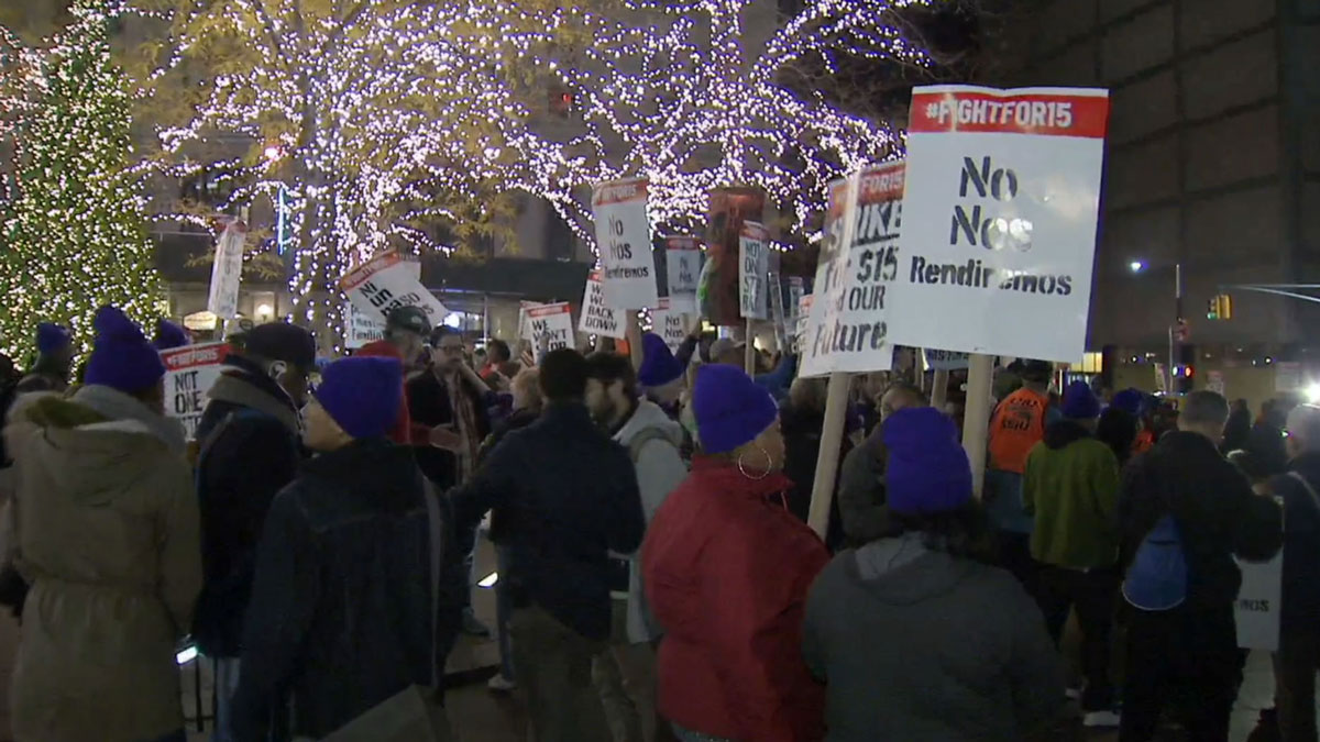 Workers in New York take part in National Day of Action to Fight for $15.