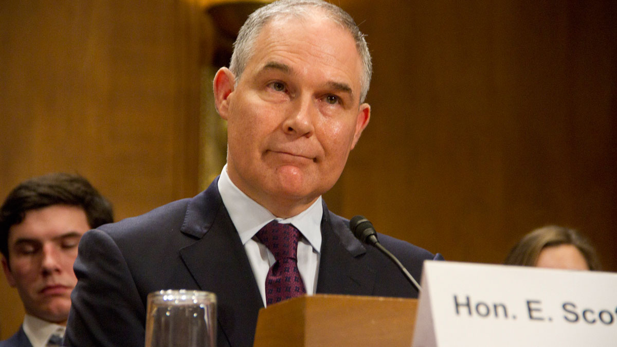 Oklahoma Attorney General Scott Pruitt, President Donald Trump's choice to head the Environmental Protection Agency, testifies during his confirmation hearing before the Senate Committee on Environment and Public Works on Capitol Hill on January 18, 2017 in Washington, DC.