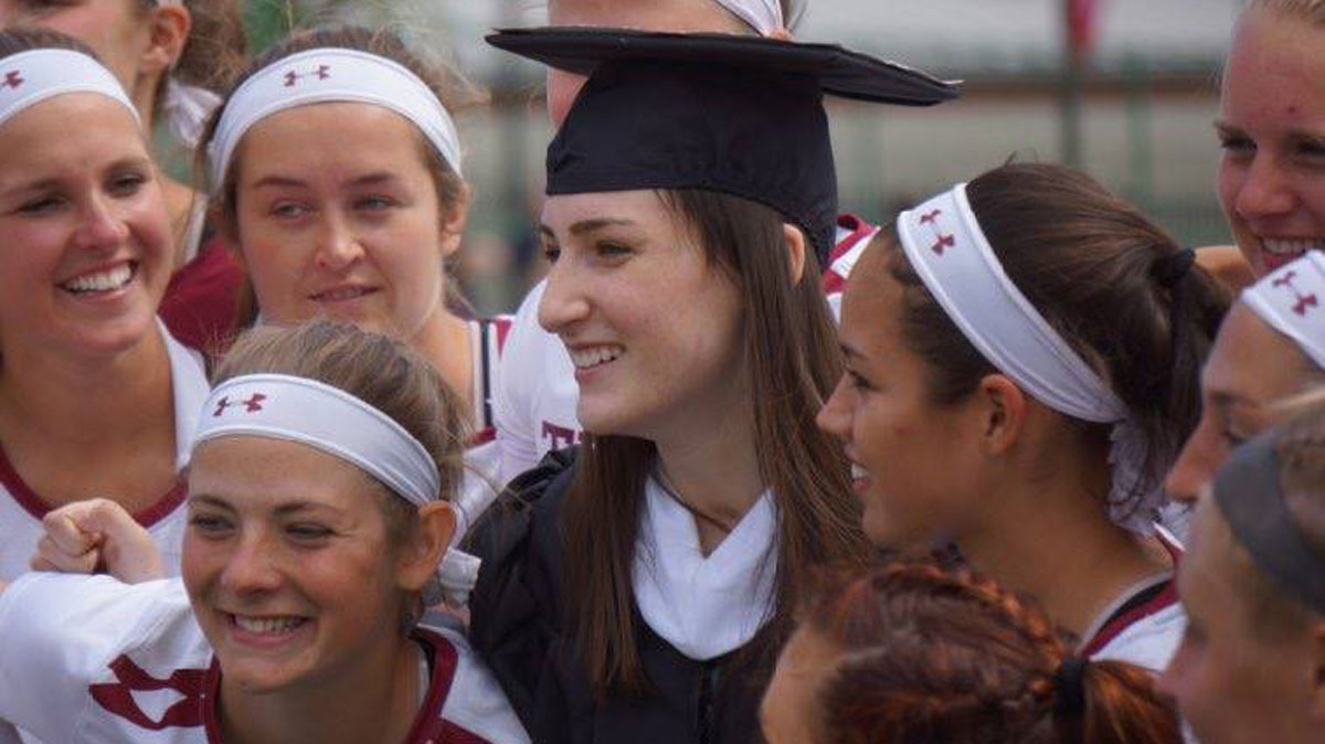 Rachel Hall, 23, a star lacrosse goalie at Temple University, walked across the stage at the school's athletics ceremony Wednesday a year after she was critically injured in a hit-and-run crash.