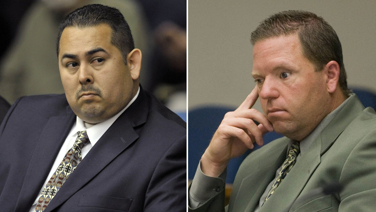 Former Fullerton officer Manuel Ramos, left, and former Cpl. Jay Cicinelli were found not guilty Monday, Jan. 13, 2013, in the beating death of Kelly Thomas, a homeless man, at a Fullerton, Calif., transit station.