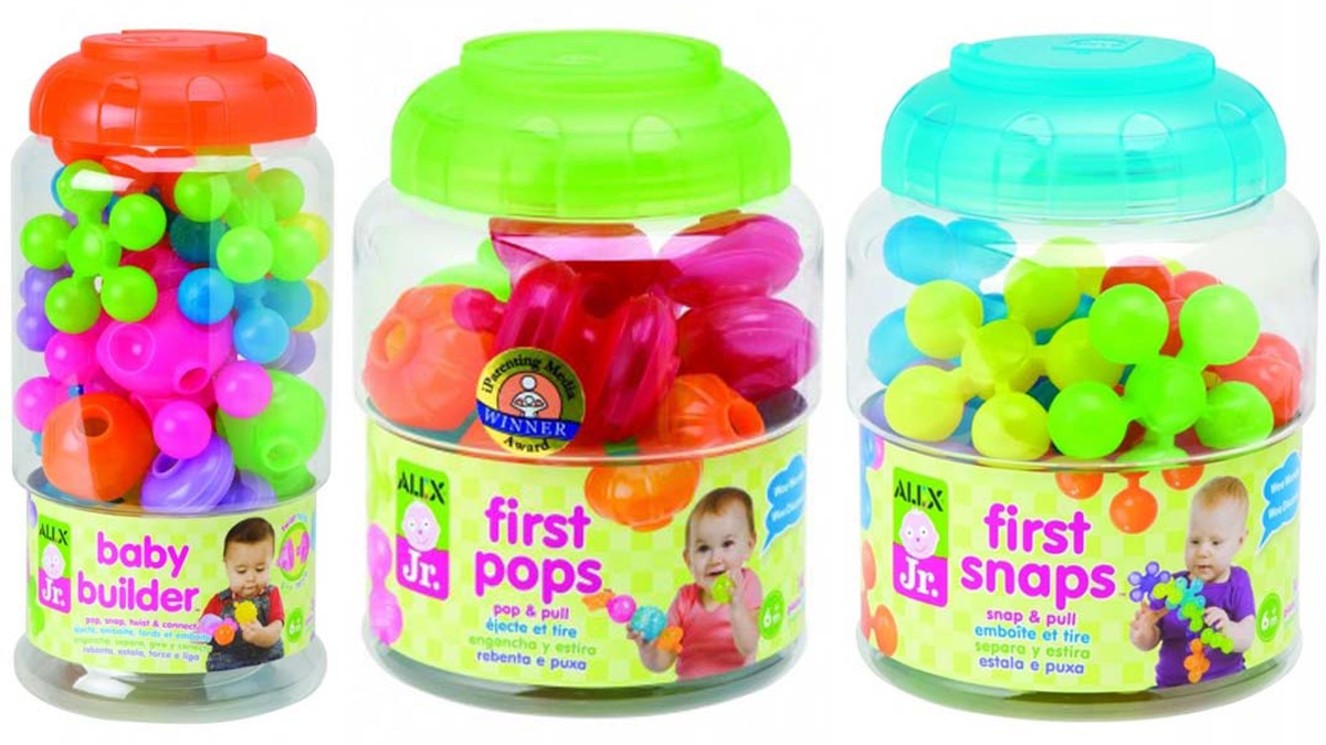 ALEX recalls 91,000 infant building toy sets -- Baby Builder model 1982 (left), First Pops model 1981P (center) and the First Snaps model 1981S (right) -- due to a choking hazard.
