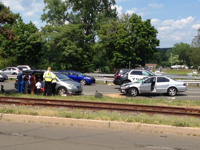 Route 9 South is down to one lane after a motor vehicle accident Saturday, June 28.