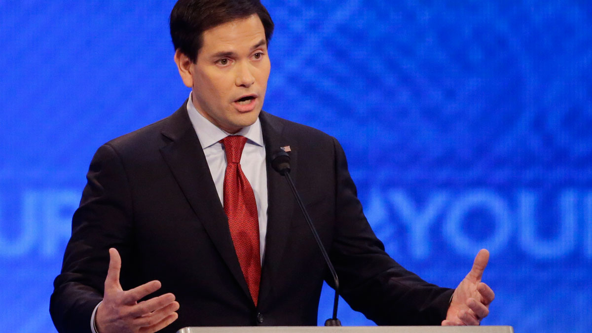 Republican presidential candidate, Sen. Marco Rubio, R-Fla.,  answers a question during a Republican presidential primary debate hosted by ABC News at the St. Anselm College  Saturday, Feb. 6, 2016, in Manchester, N.H.