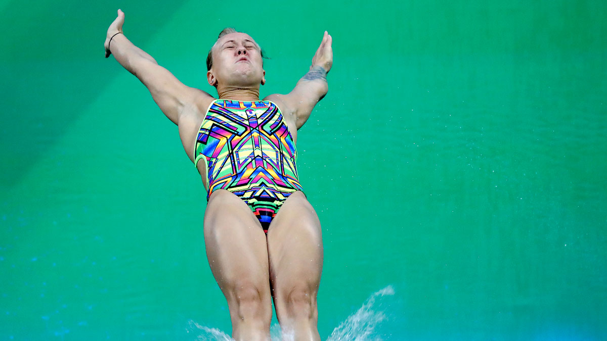 Russia's Nadezhda Bazhina competes during the women's 3-meter springboard diving preliminary round in the Maria Lenk Aquatic Center at the 2016 Summer Olympics in Rio de Janeiro, Brazil, Friday, Aug. 12, 2016.