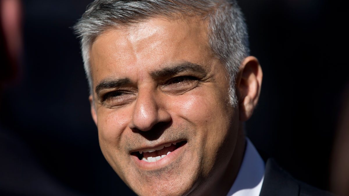 Labour party candidate for mayor of London Sadiq Khan gives a television interview during a campaign event to highlight the choices Londoners on Wednesday, May 4, 2016. Khan was declared the winner on Saturday.