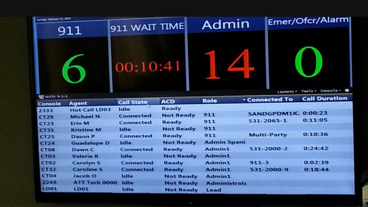 A screenshot of the San Diego police dispatch center system that shows a wait time of 10 minutes.