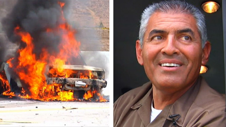 A burning vehicle at the scene of a fiery crash on the 60 Freeway Friday Sept. 6, 2013 in the Mira Loma area. Right, UPS driver Lawrence Sanchez, who used his fire extinguisher to help save the victim.