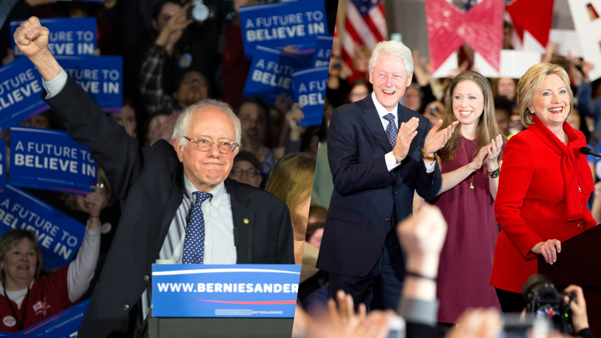 Sen. Bernie Sanders (I-VT). and former Secretary of State Hillary Clinton address supporters after being locked in a near dead-equal heat for the Democratic nomination in Iowa. As the day ended on Feb. 1, 2016, NBC News said the race between the candidates was still too close to call.
