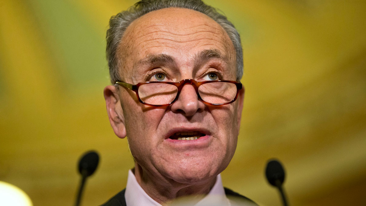 In this May 17, 2016, photo, Sen. Charles Schumer, D-N.Y., speaks to the media on Capitol Hill in Washington.