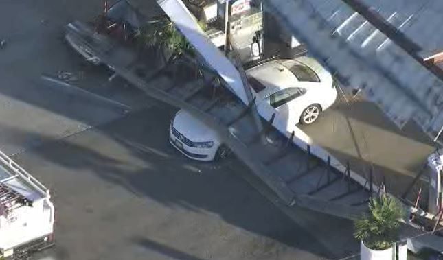 A roof of a gas station collapsed in Torrance Monday, Feb. 8, 2016.