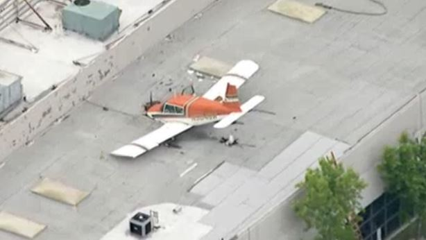 A small Piper Aircraft plane crash-landed on the roof of a Pomona building Sunday, May 8, 2016.