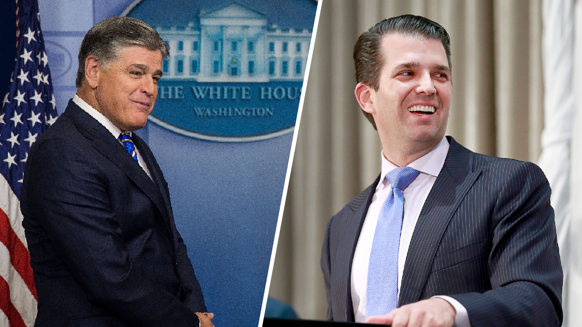 Sean Hannity (left) at the White House on Jan. 24, 2017, and Donald Trump Jr. at Trump International Tower and Hotel in Vancouver, Canada Feb. 28, 2017. Both found the release of part of President Donald Trump's 2005 federal income tax return to be vindicating.