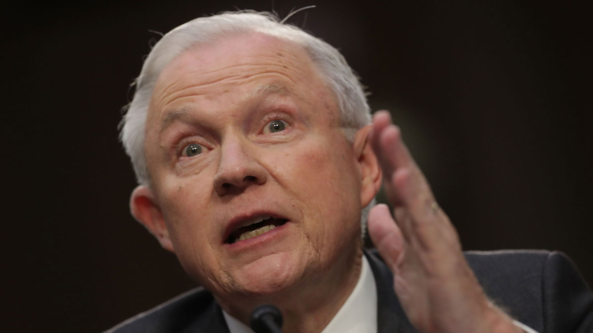 Attorney General Jeff Sessions testifies before the Senate Intelligence Committee about Russian interference in the 2016 presidential election in the Hart Senate Office Building on Capitol Hill June 13, 2017 in Washington, DC.