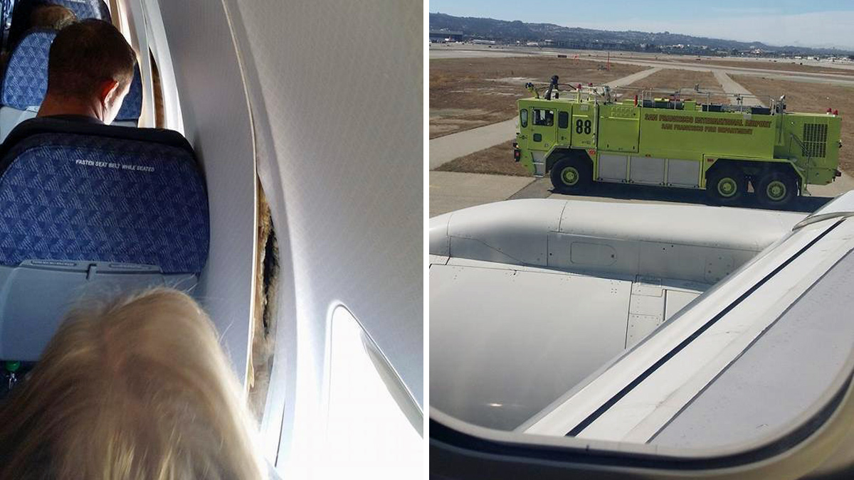 Passenger James Wilson took these photos after Airlines Flight 2293 from San Francisco to Dallas made an emergency landing at SFO, Monday, Oct. 13, 2014.