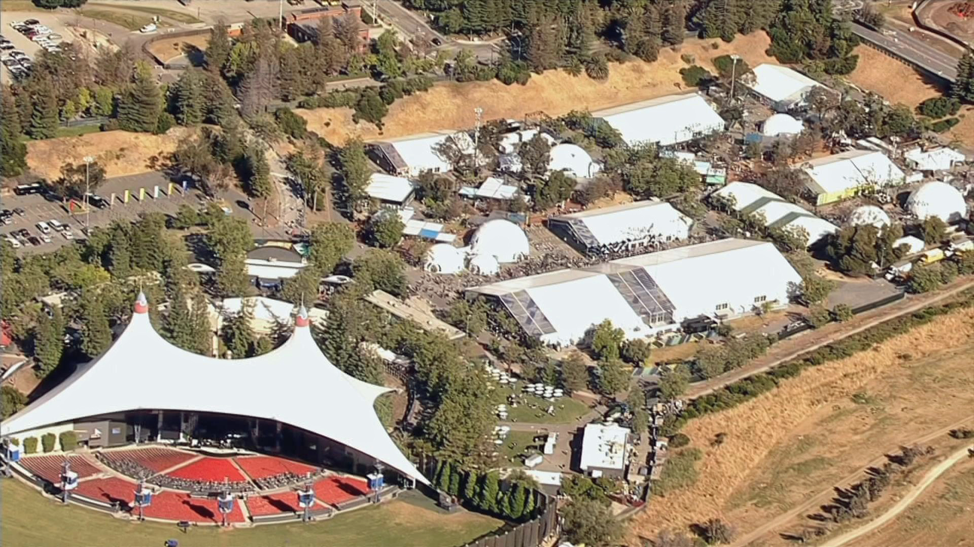 Aerial view May 18, 2017, of Shoreline Amphitheater, where a fire injured six people.