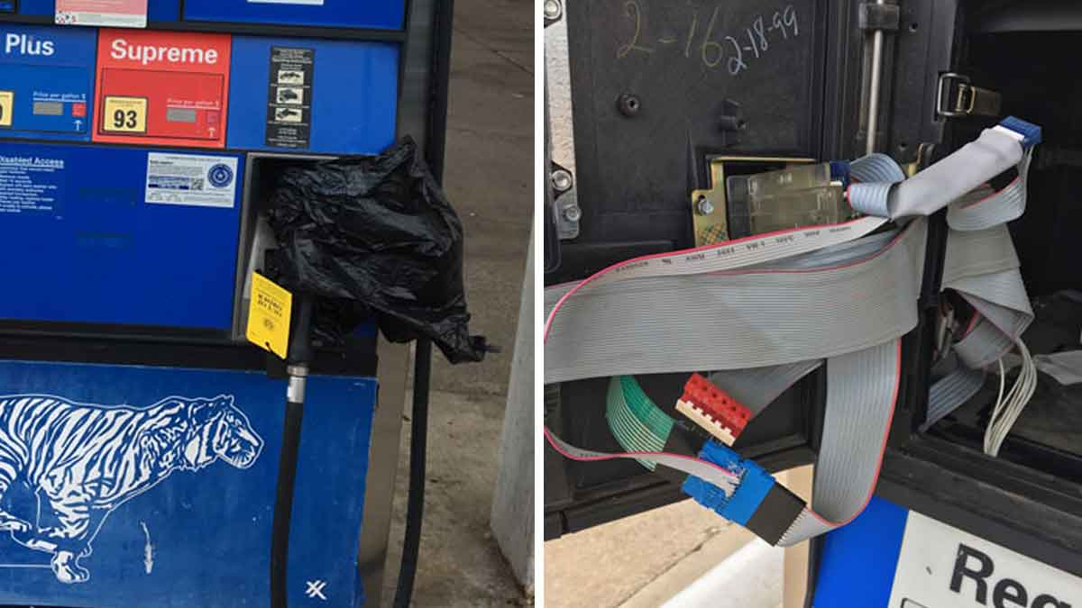 A gas pump skimmer was found at this station in Tyler Monday. (Published Aug. 9, 2017)