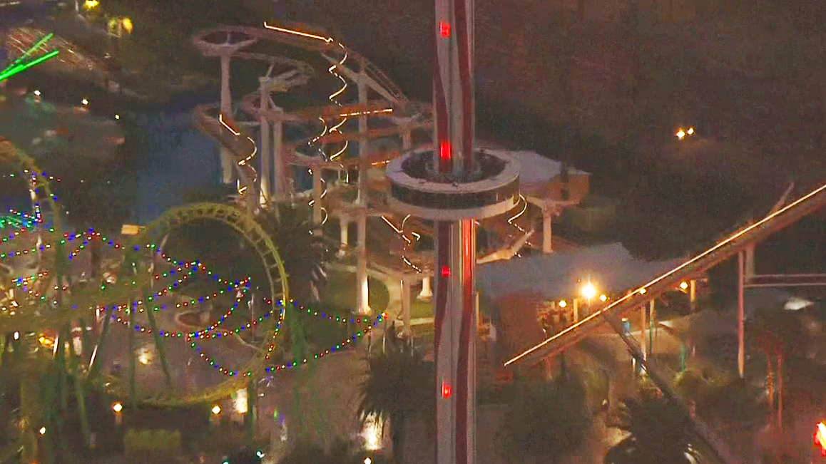 A portion of Knott's Berry Farm was being shut down to help rescue riders stuck on a ride for hours Friday, Dec. 30, 2016.