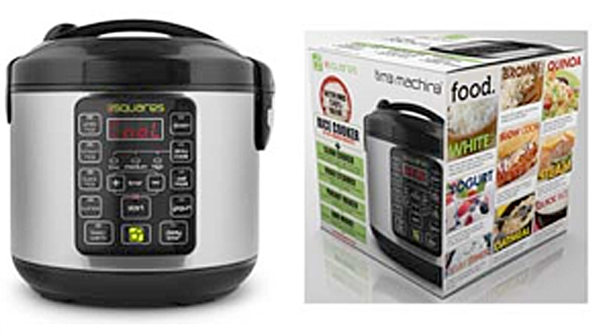 The electric cookers are stainless steel with black molded plastic and a keypad on the front.