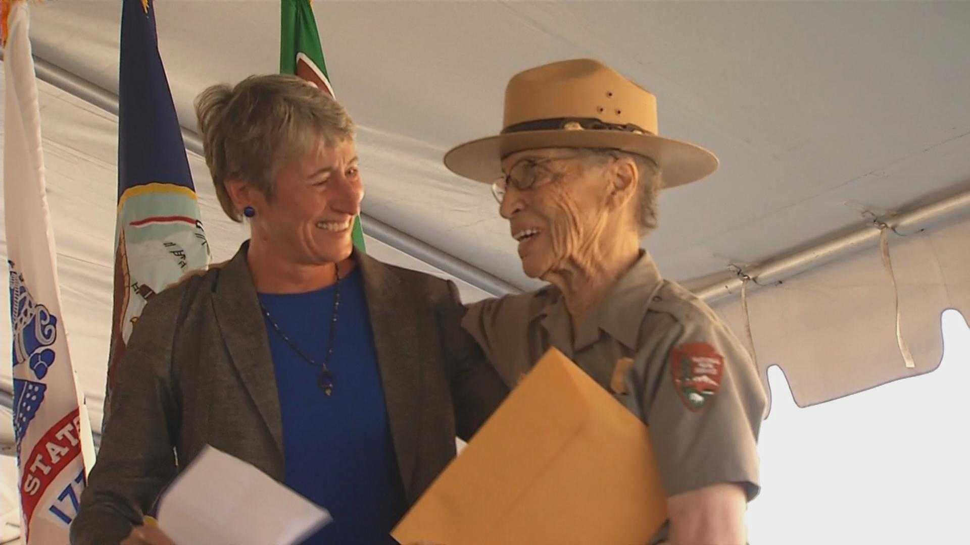 Betty Reid Soskin, right, receives her replacement commemorative coin from Secretary of the Interior Sally Jewell.