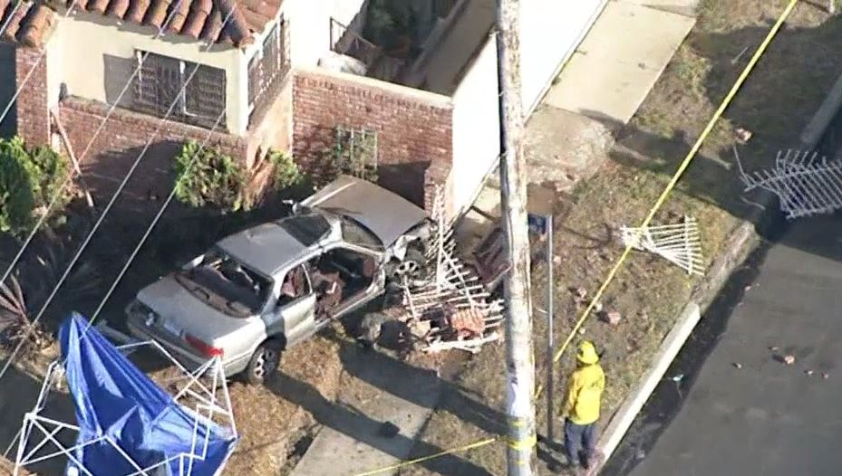 A car plowed into a home, leaving a 7-year-old dead and four others including children under 6 years old critically hurt Sunday, July 17, 2016.