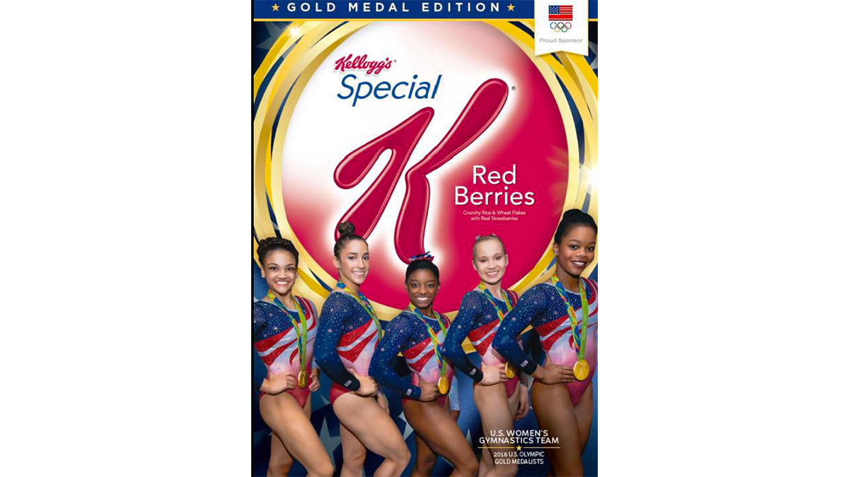The U.S. women's gymnastics team on a box of Special K Red Berries.